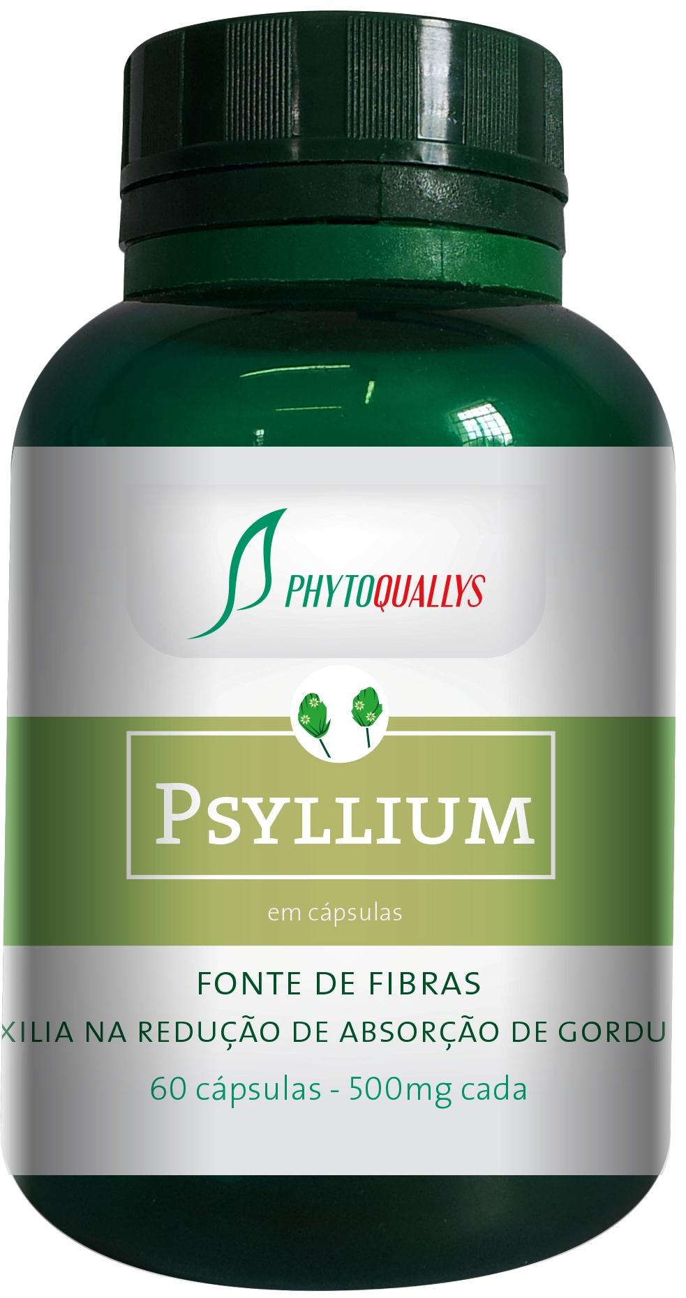 Psyllium em Cápsulas - Frasco com 60 cápsulas de 500mg