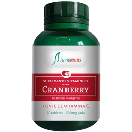 Cranberry - 70 tabletes de 500mg Vitamina C - PhytoQuallys